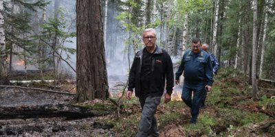 Губернатор Красноярского края побывал на передовой тушения пожаров