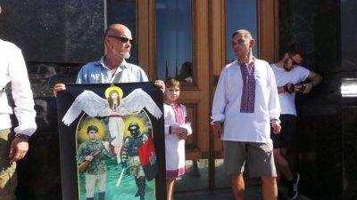 Украинские боевики провели антироссийскую акцию под офисом Зеленского - «Новороссия»